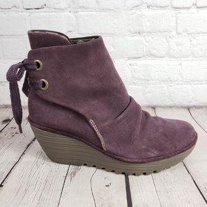 Fly London Purple Wedge Womens 38 Suede Shoes